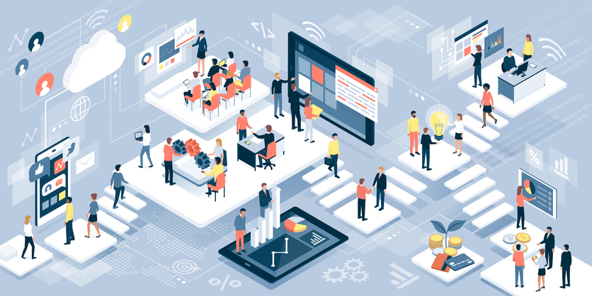 Isometric virtual office with business people working together and mobile devices: business management, online communication and finance concept