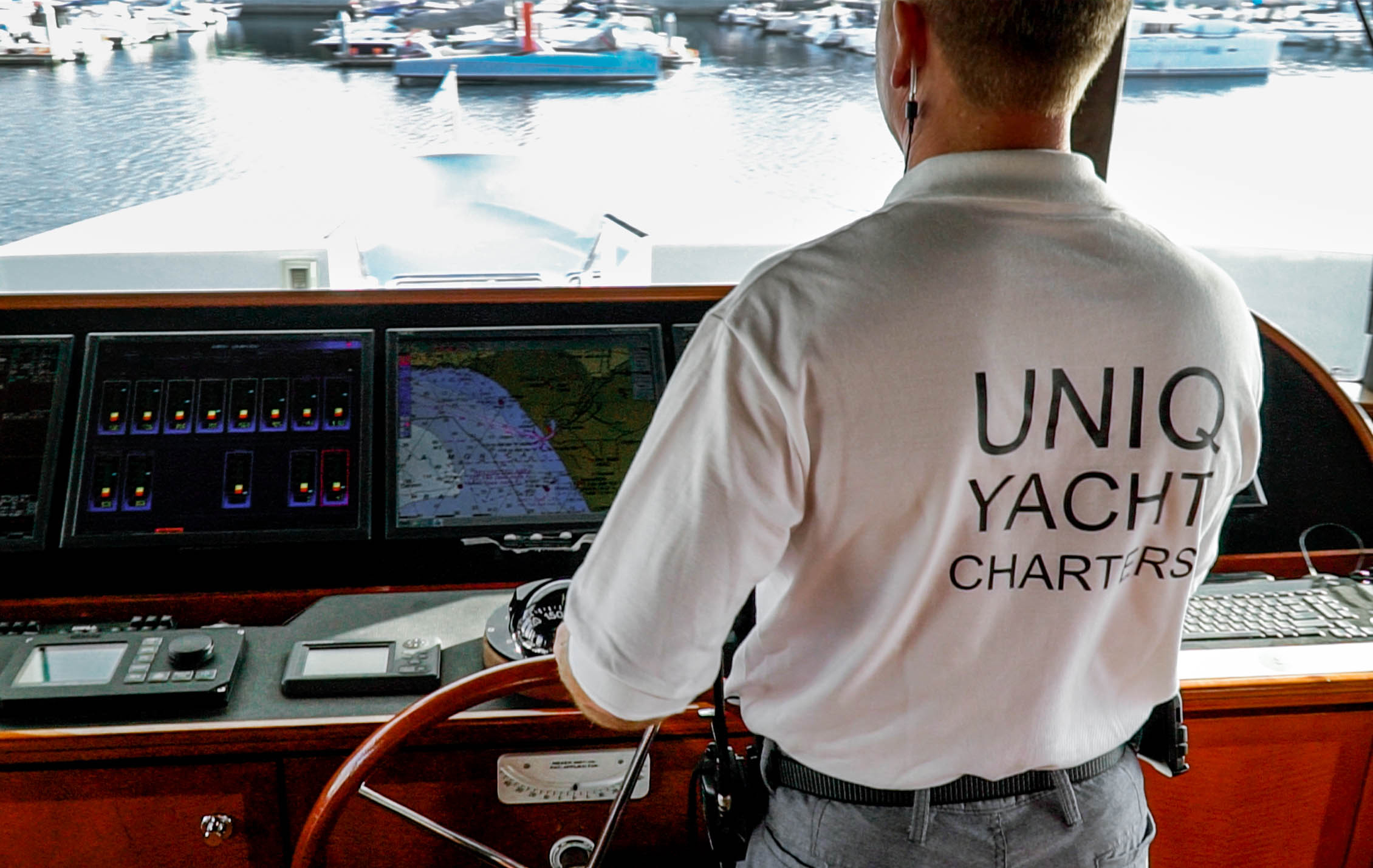 Captain on 143 UNIQ Super Yacht Los Angeles Captained Yacht Charters Luxury Boat Rental Marina Del Rey CA db970468